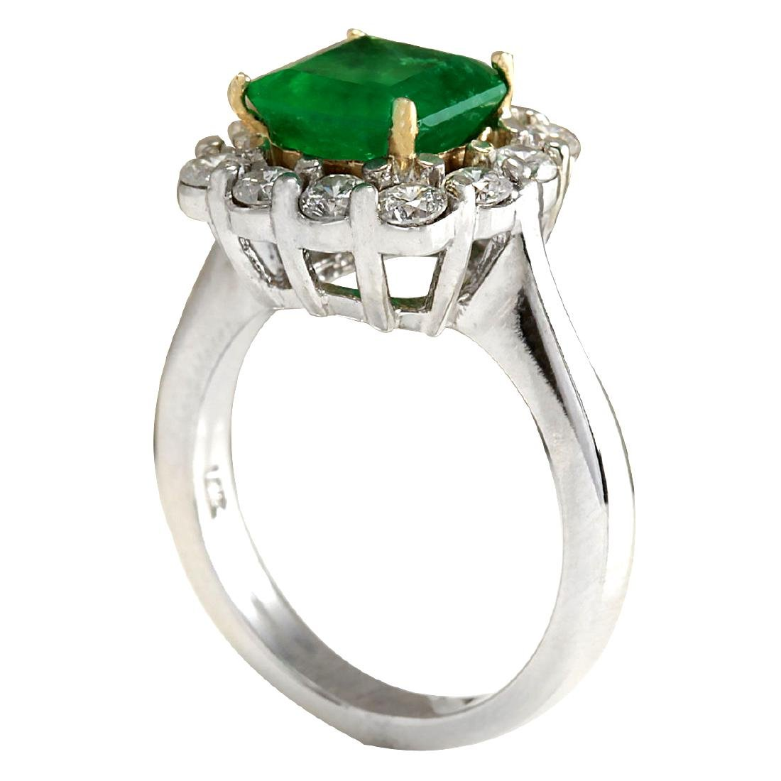 3.15CTW Natural Colombian Emerald And Diamond Ring In - 3