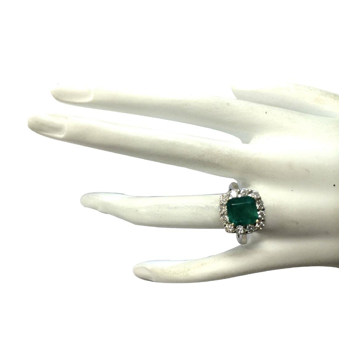 3.15CTW Natural Colombian Emerald And Diamond Ring In - 4