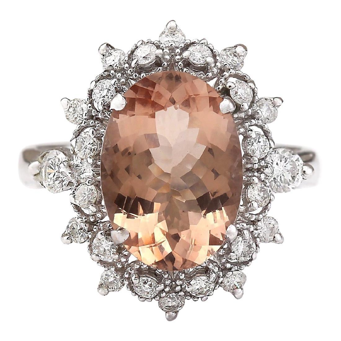 4.38 CTW Natural Morganite And Diamond Ring In 18K