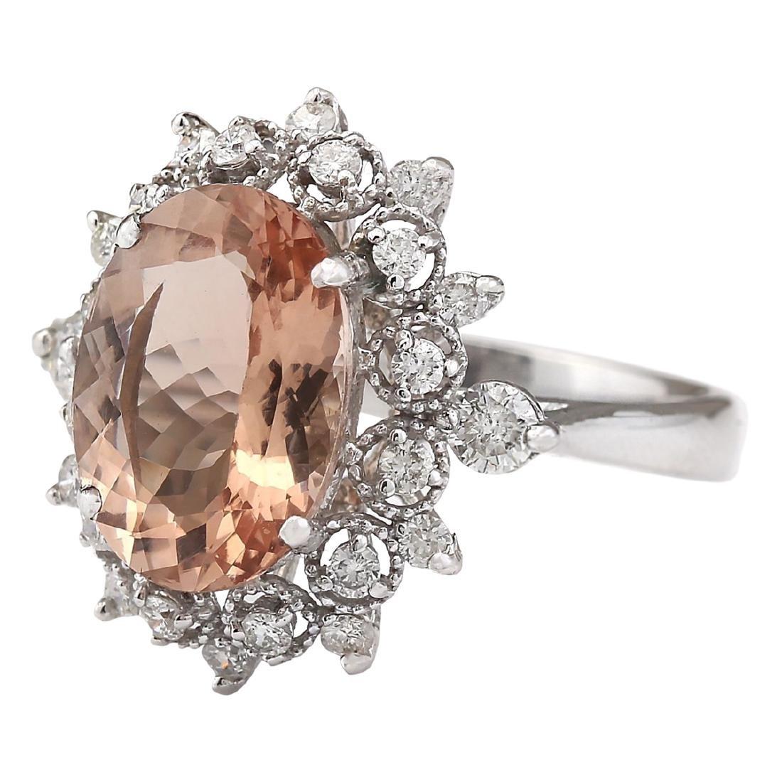 4.38 CTW Natural Morganite And Diamond Ring In 18K - 2