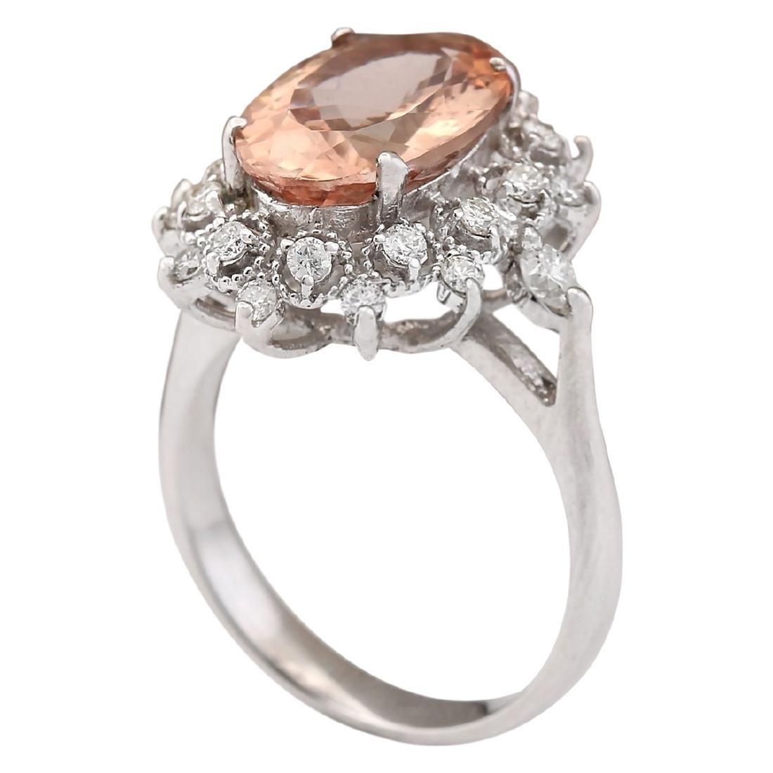 4.38 CTW Natural Morganite And Diamond Ring In 18K - 3