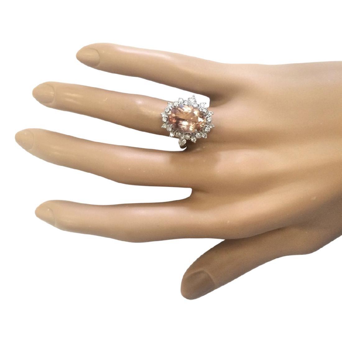 4.38 CTW Natural Morganite And Diamond Ring In 18K - 4