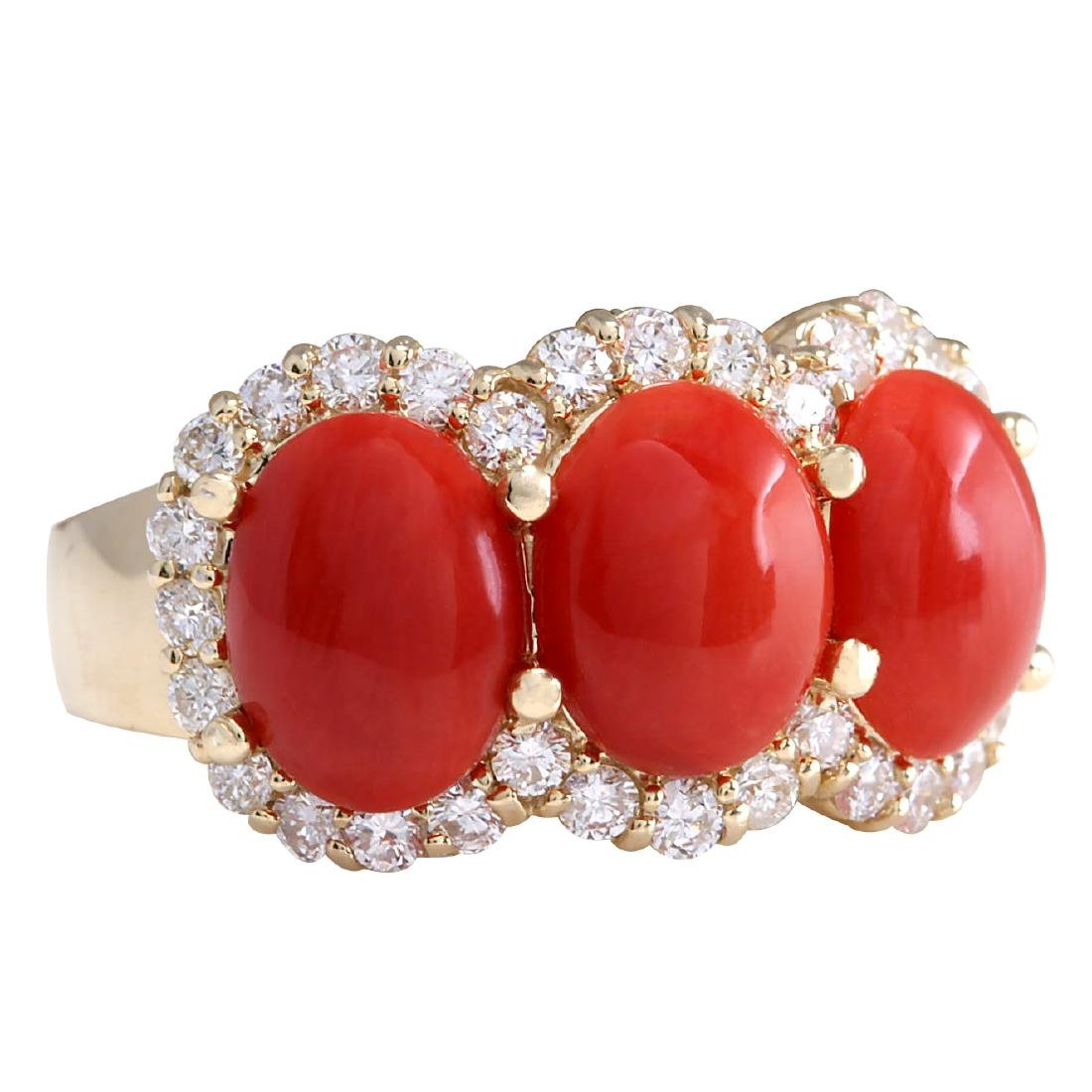 5.10CTW Natural Red Coral And Diamond Ring 18K Solid - 2