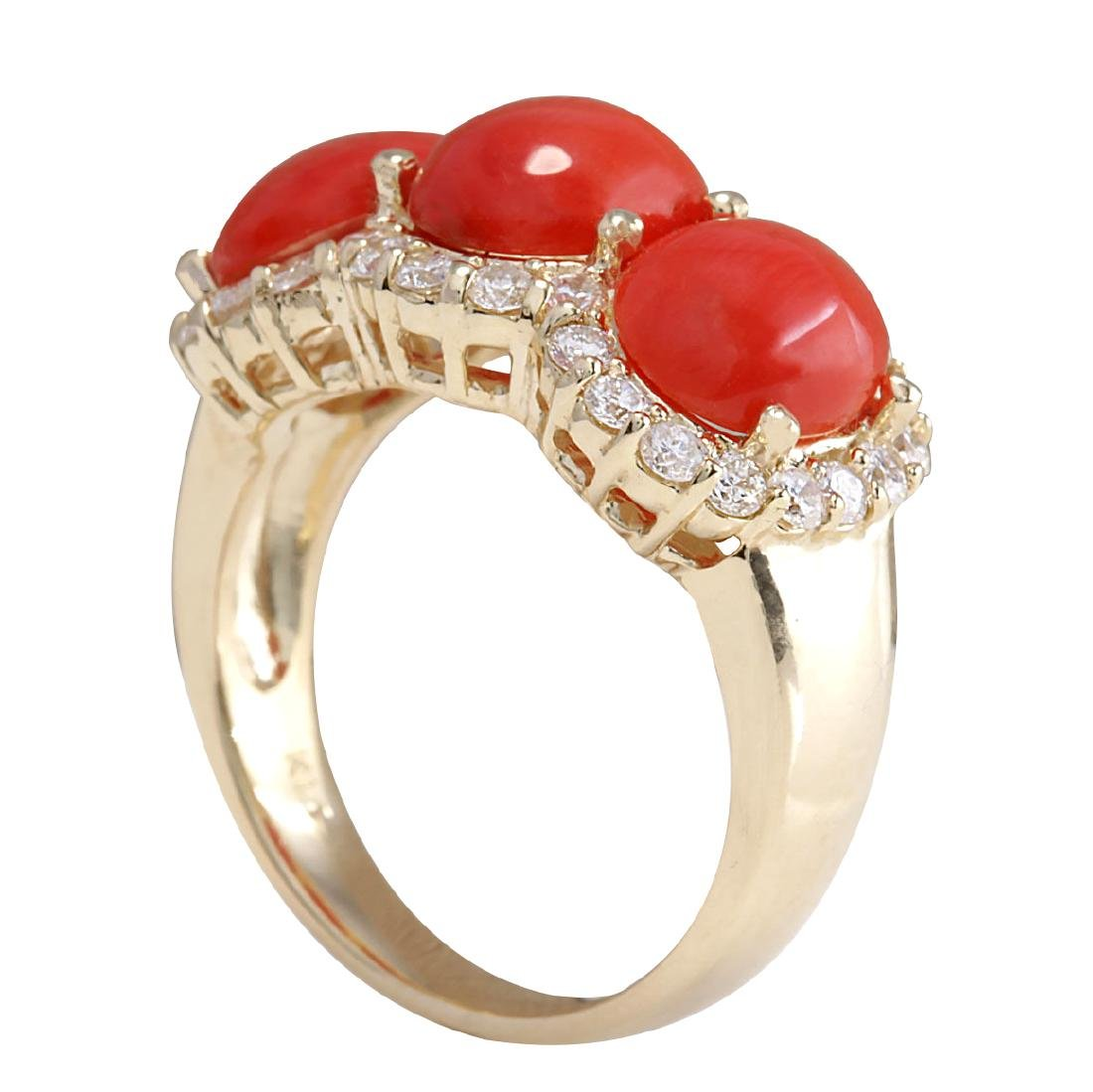 5.10CTW Natural Red Coral And Diamond Ring 18K Solid - 3
