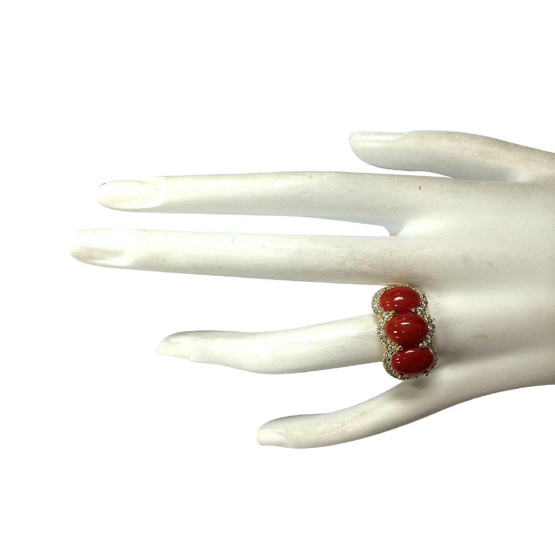 5.10CTW Natural Red Coral And Diamond Ring 18K Solid - 4