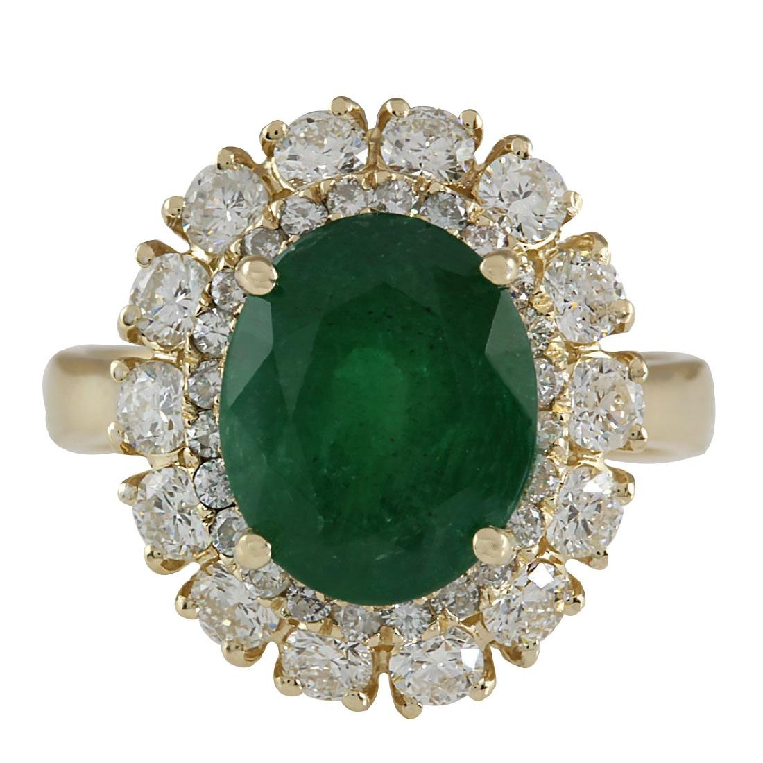 6.29CTW Natural Emerald And Diamond Ring 18K Solid
