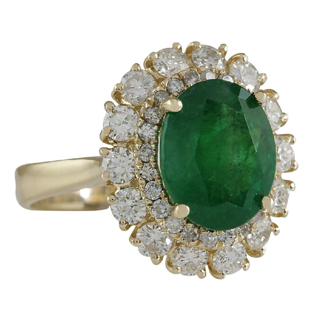 6.29CTW Natural Emerald And Diamond Ring 18K Solid - 2