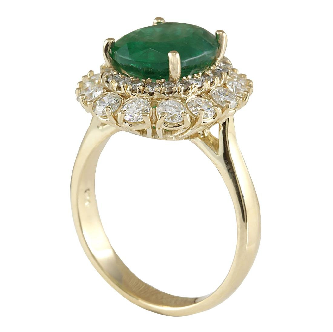 6.29CTW Natural Emerald And Diamond Ring 18K Solid - 3