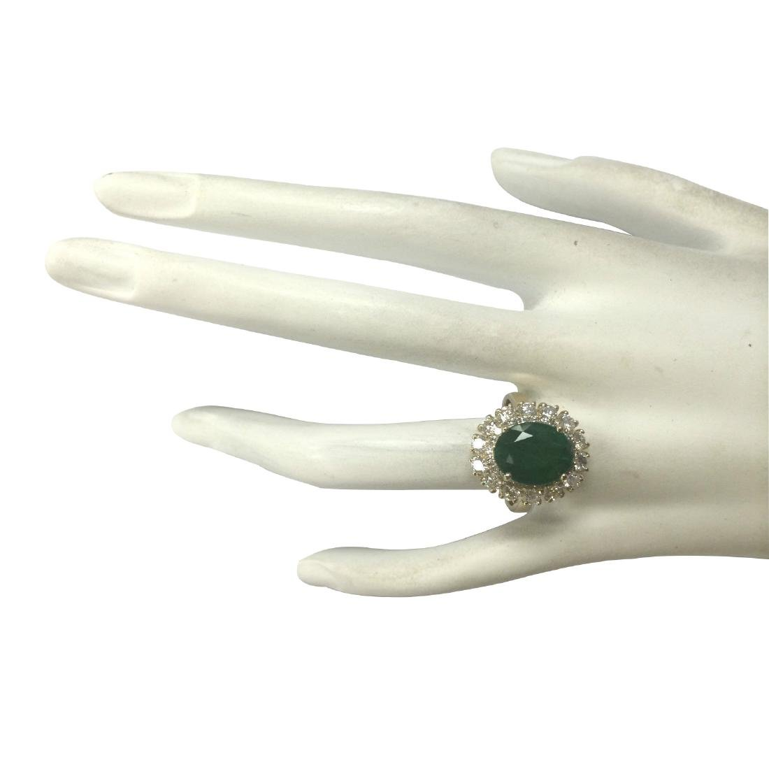 6.29CTW Natural Emerald And Diamond Ring 18K Solid - 4