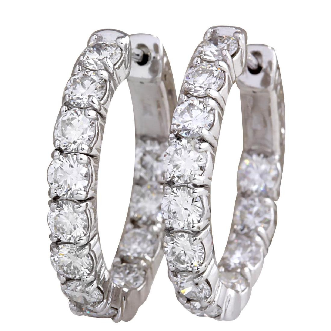 3.48CTW Natural Diamond Hoop Earrings 18K Solid White