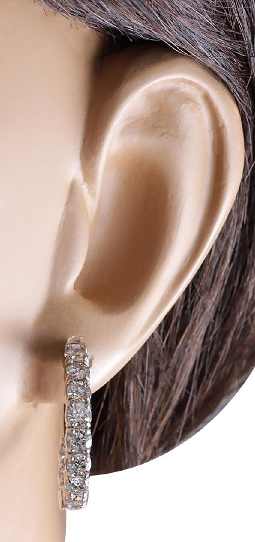 3.48CTW Natural Diamond Hoop Earrings 18K Solid White - 3