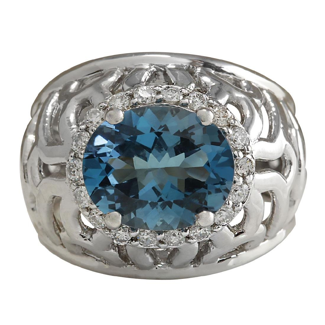 3.95CTW Natural London Blue Topaz And Diamond Ring In