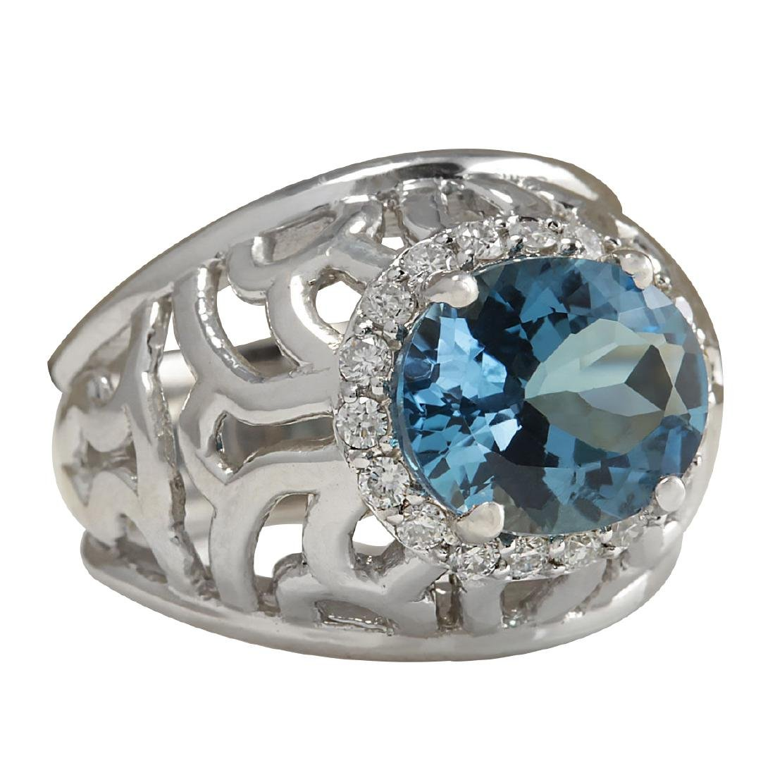 3.95CTW Natural London Blue Topaz And Diamond Ring In - 2