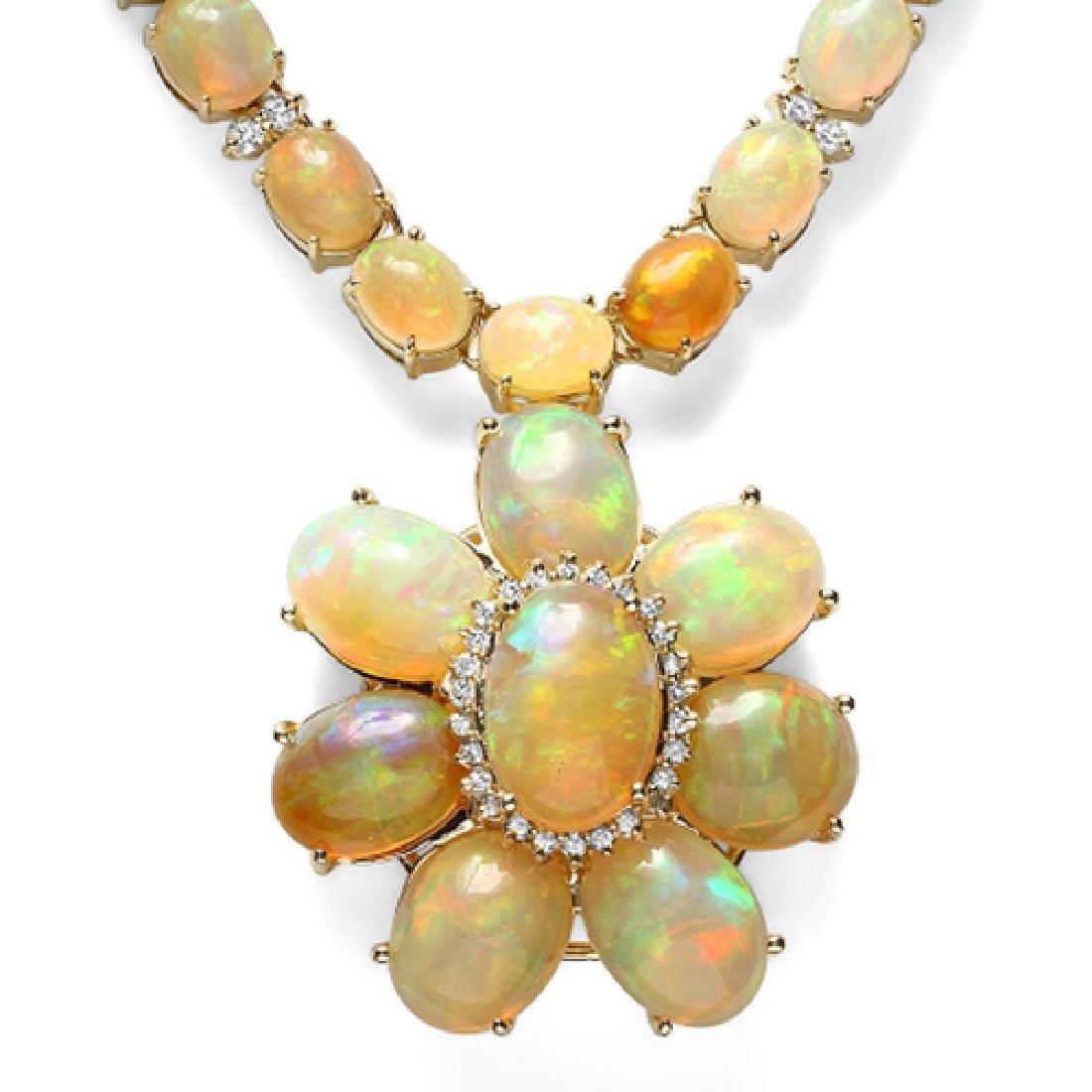 92.82 Carat Natural Opal 18K Solid Yellow Gold Diamond