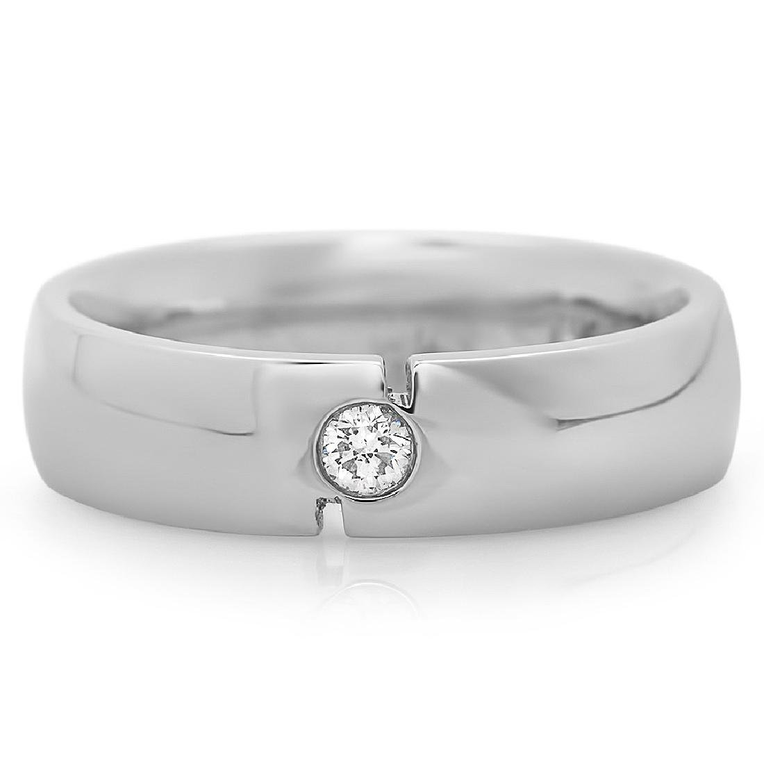 Mens 0.12 Carat Natural Diamond 18K Solid White Gold