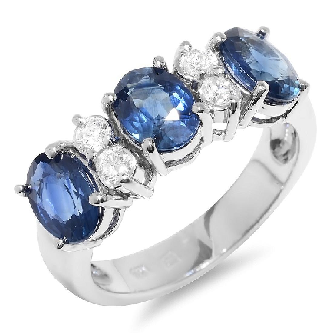 3.30 Carat Natural Sapphire 18K Solid White Gold