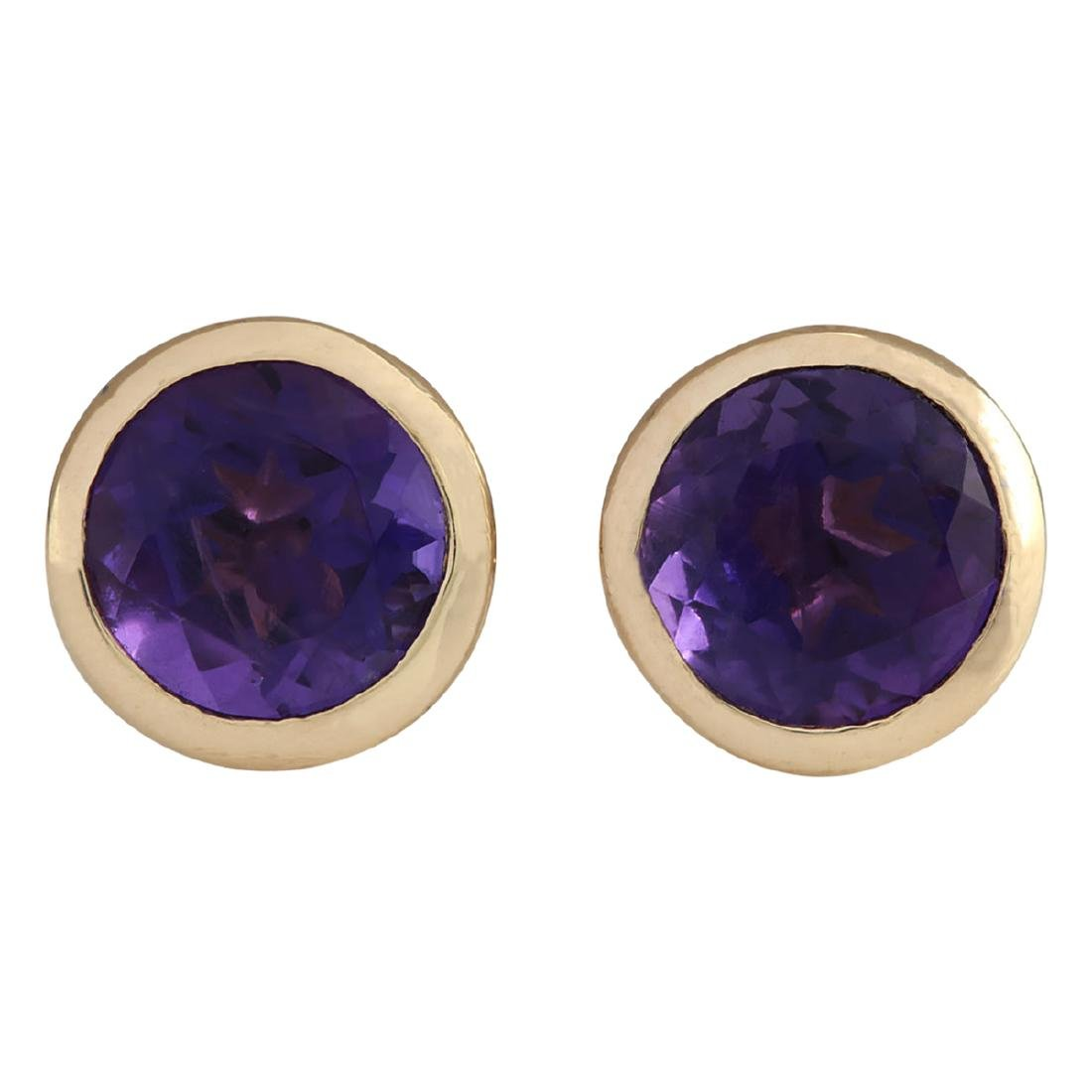 3.00 CTW Natural Amethyst Earrings 18K Solid Yellow
