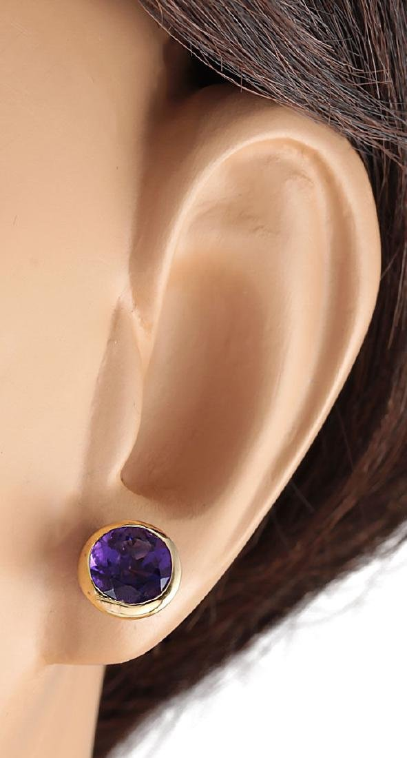 3.00 CTW Natural Amethyst Earrings 18K Solid Yellow - 3