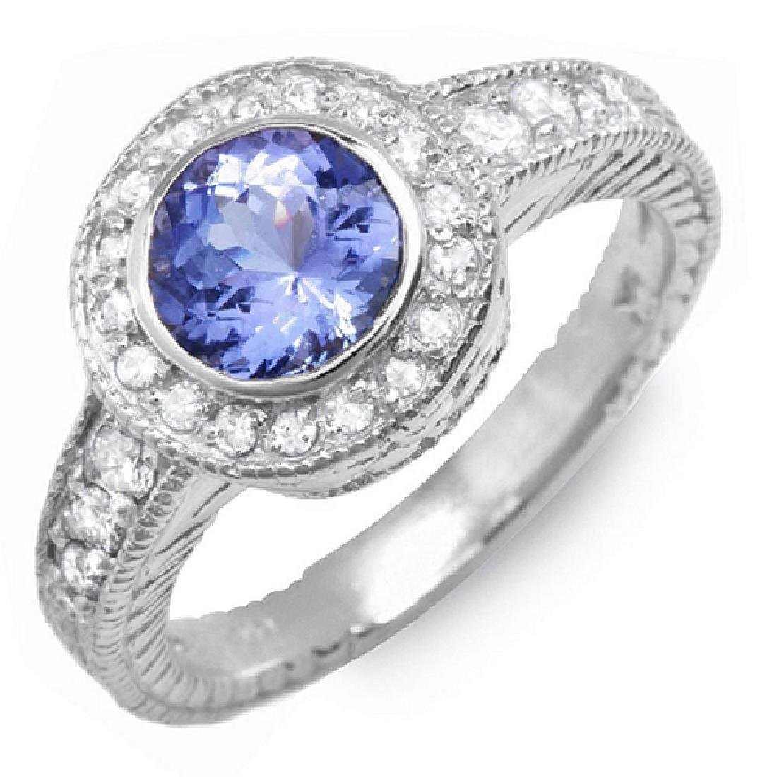 1.30 Carat Natural Tanzanite 18K Solid White Gold