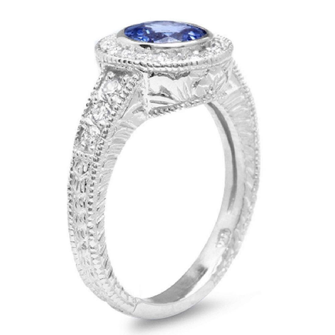 1.30 Carat Natural Tanzanite 18K Solid White Gold - 2