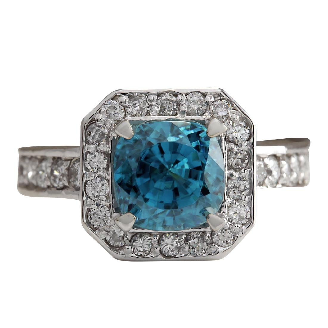 5.85CTW Natural Blue Zircon And Diamond Ring 18K Solid