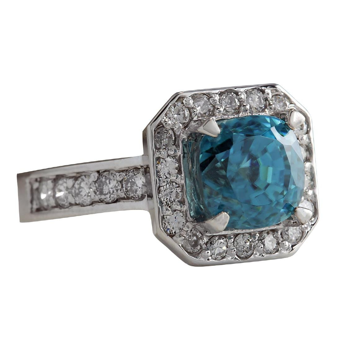 5.85CTW Natural Blue Zircon And Diamond Ring 18K Solid - 2