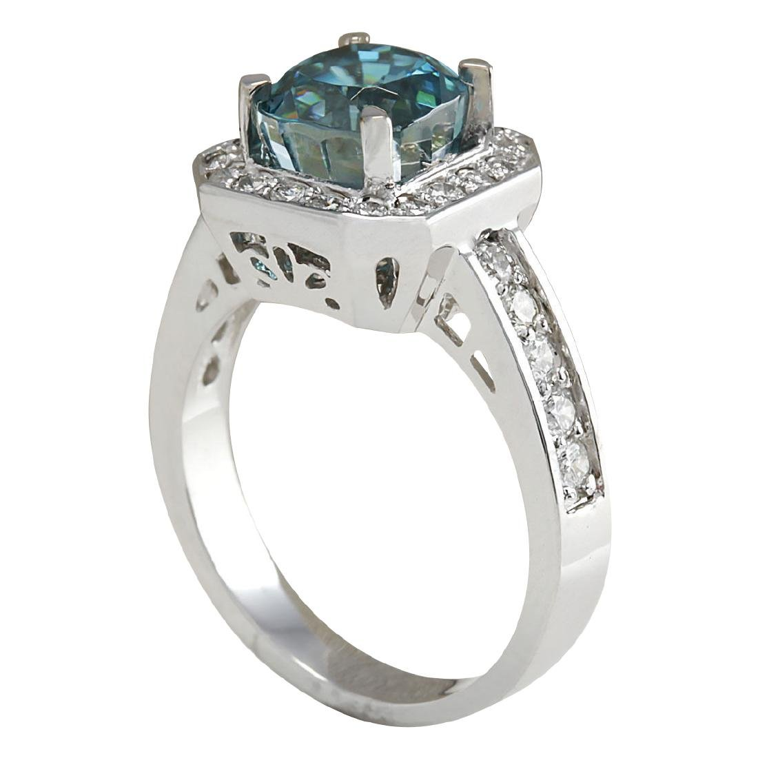 5.85CTW Natural Blue Zircon And Diamond Ring 18K Solid - 3
