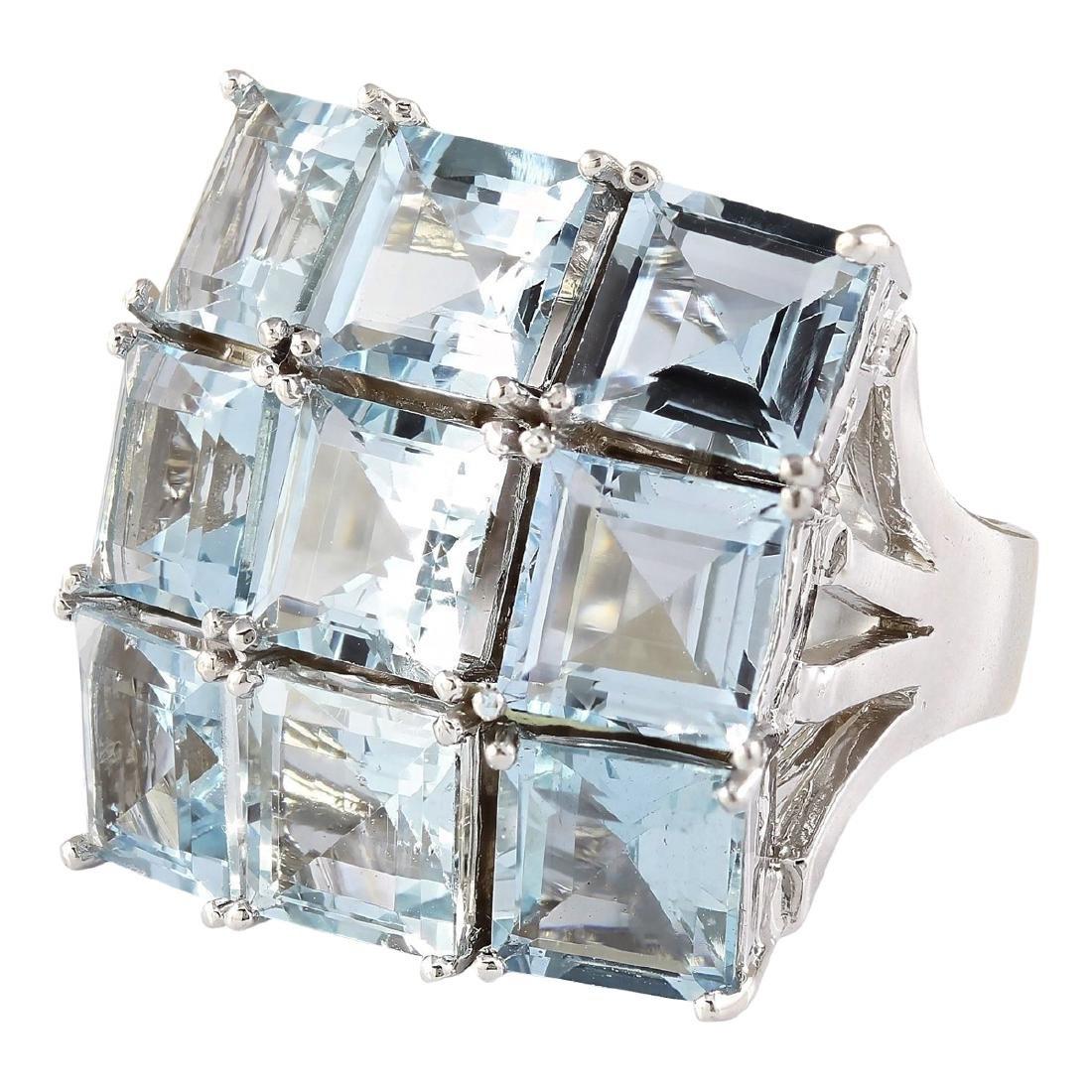 20.00 CTW Natural Aquamarine Ring In 18K White Gold - 2