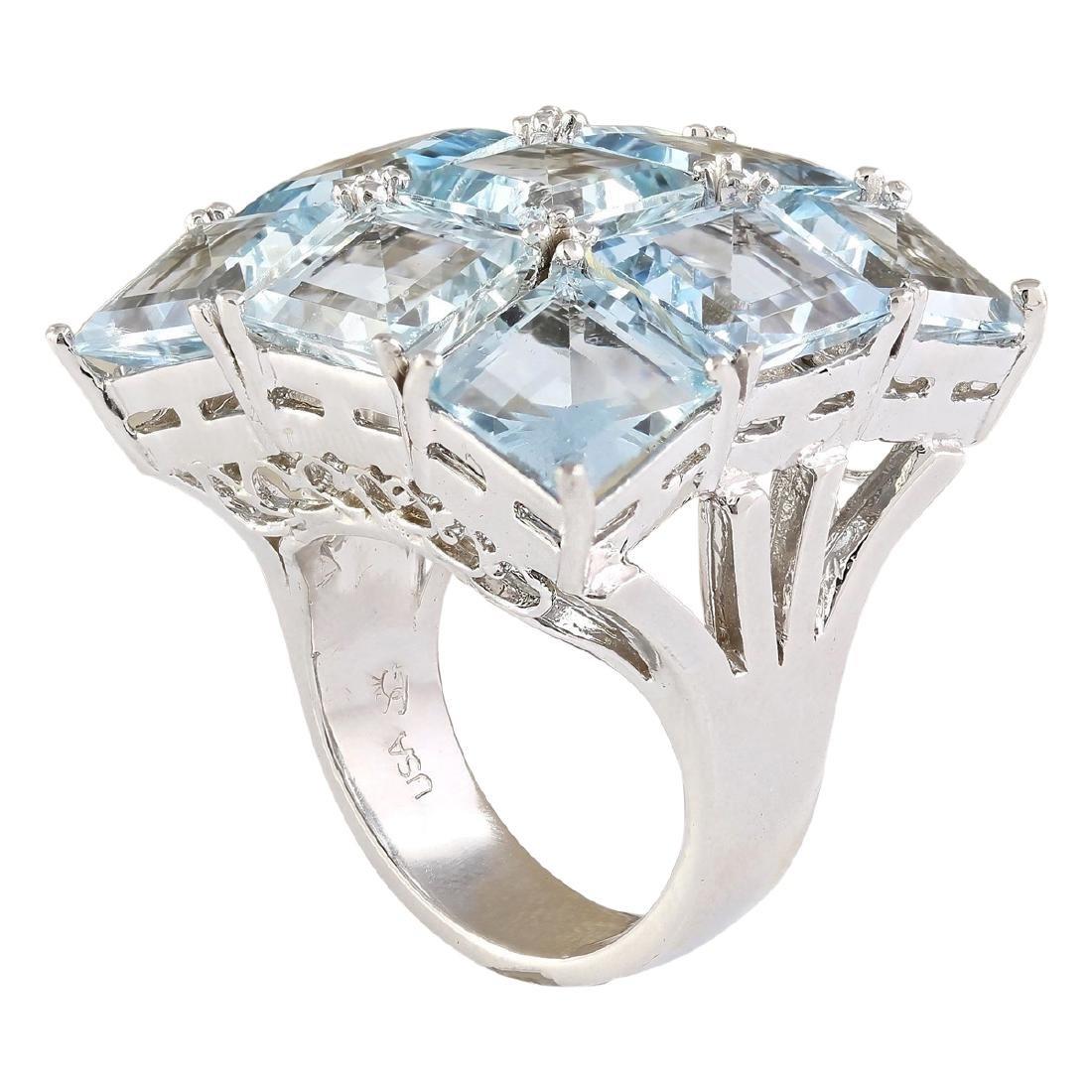 20.00 CTW Natural Aquamarine Ring In 18K White Gold - 3