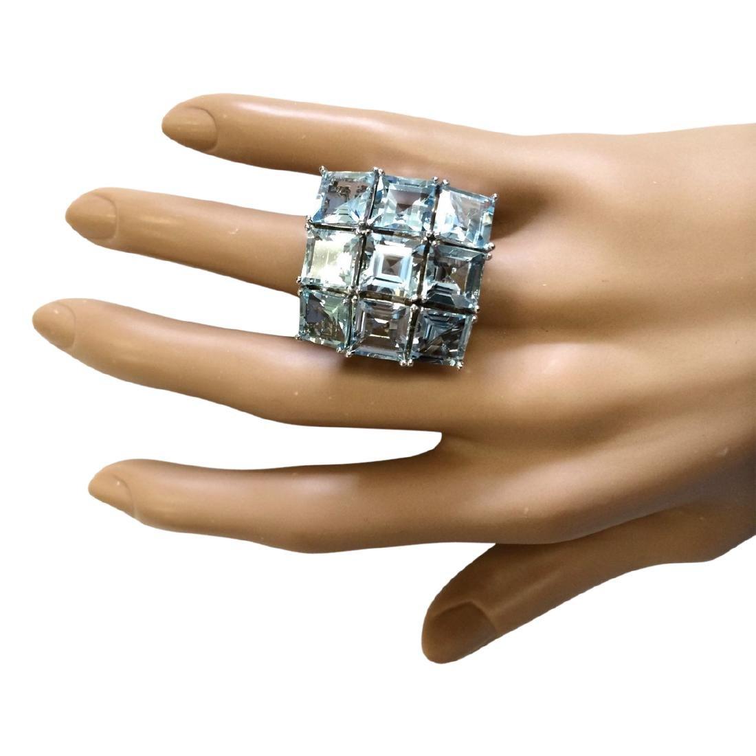 20.00 CTW Natural Aquamarine Ring In 18K White Gold - 4