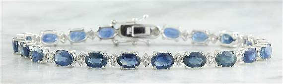 12.15 Carat Sapphire 18K White Gold Diamond Bracelet