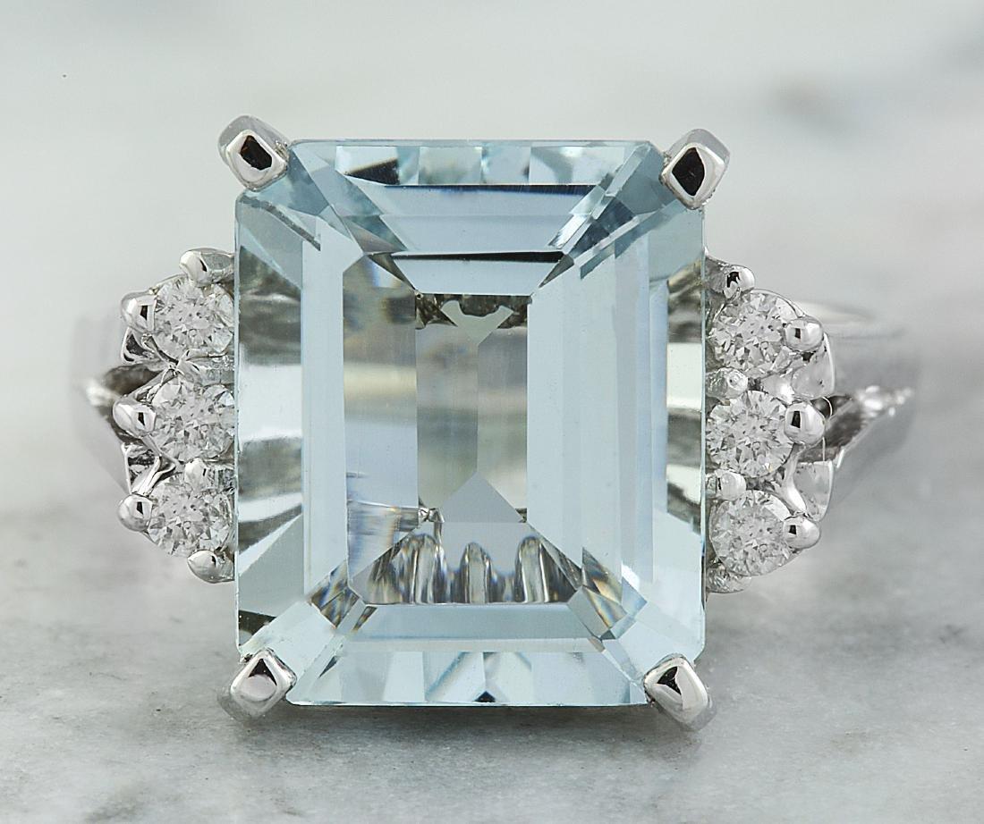 5.85 Carat Aquamarine 18K White Gold Diamond ring