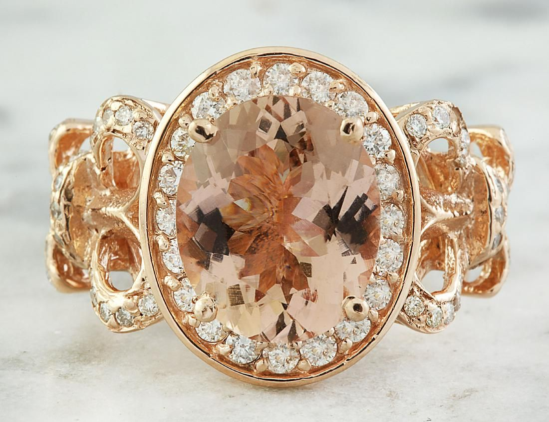 4.50 Carat Morganite 14 K Rose Gold Diamond Ring