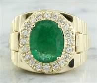 459 Carat Mens Emerald 18K Yellow Gold Diamond Ring