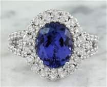 5.40 Carat Tanzanite 18K White Gold Diamond Ring