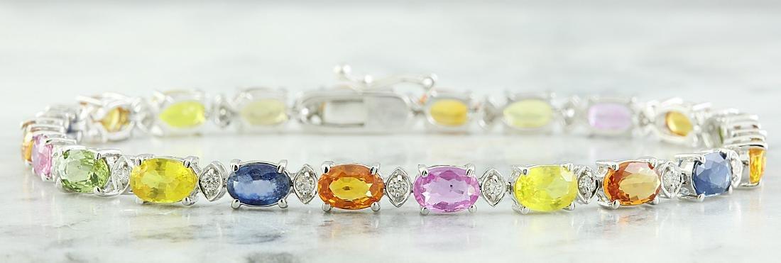 13.35 Carat Sapphire 18K White Gold Diamond Bracelet