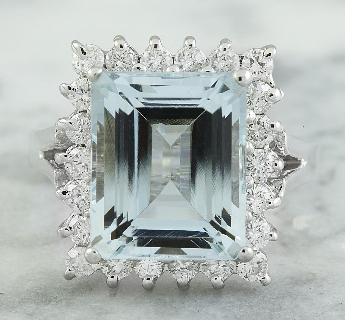 7.23 Carat Aquamarine 18K White Gold Diamond Ring