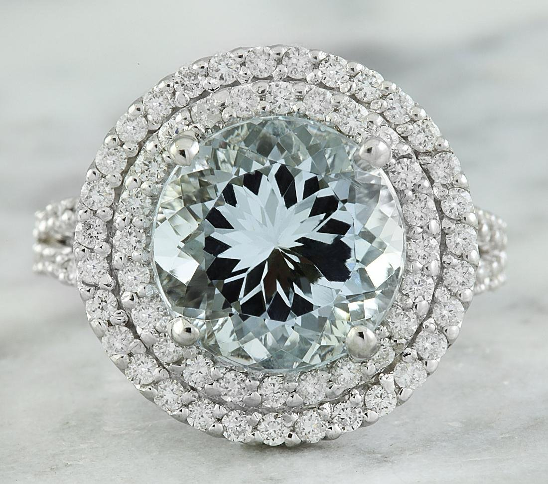 5.55 Carat Aquamarine 18K White Gold Diamond Ring