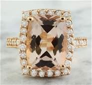 712 Carat Morganite 18K Rose Gold Diamond Ring