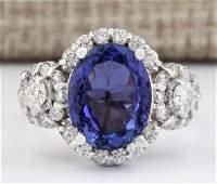 480 CTW Natural Blue Tanzanite And Diamond Ring 18K
