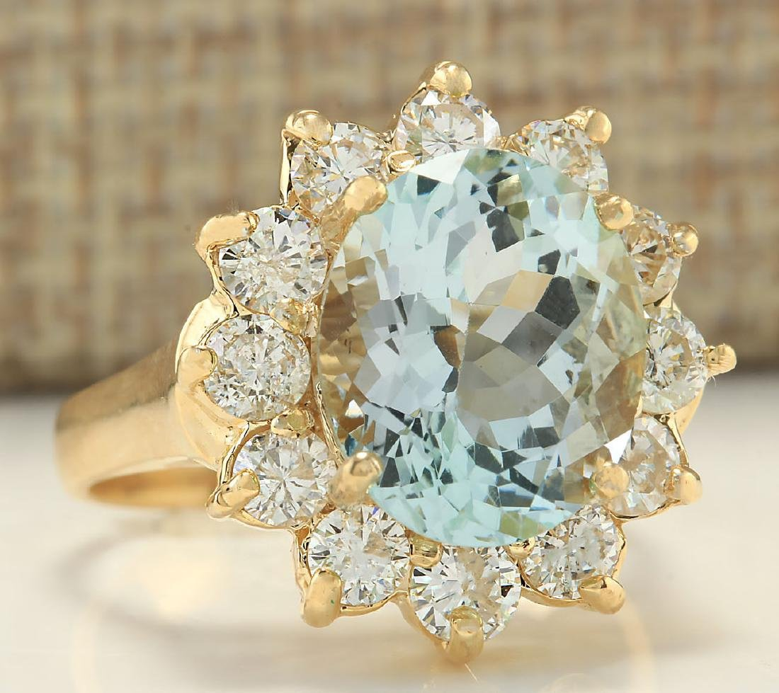 7.60CTW Natural Aquamarine And Diamond Ring In 18K - 2