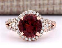 349 CTW Natural Pink Tourmaline And Diamond Ring 18K