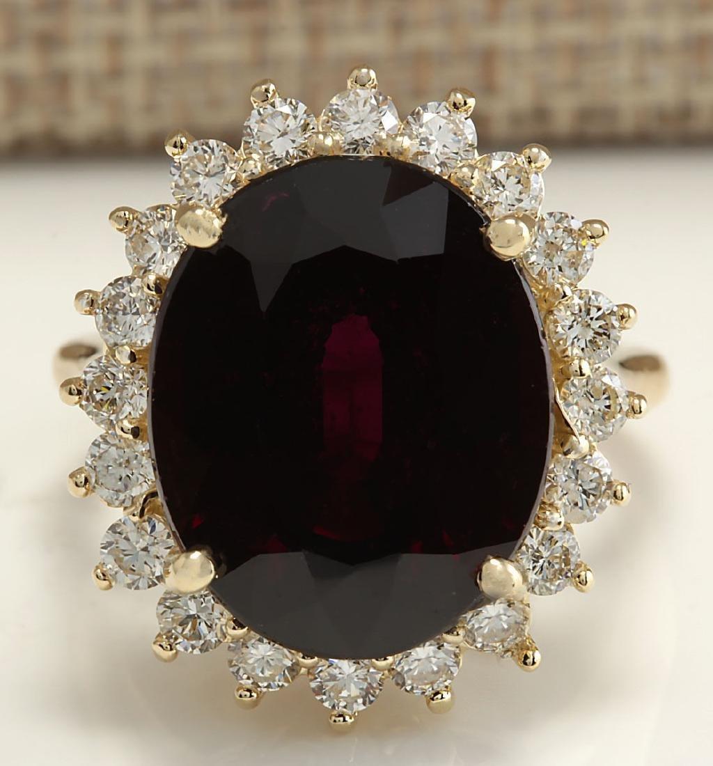 16.07CTW Natural Hessonite Garnet And Diamond Ring 18K
