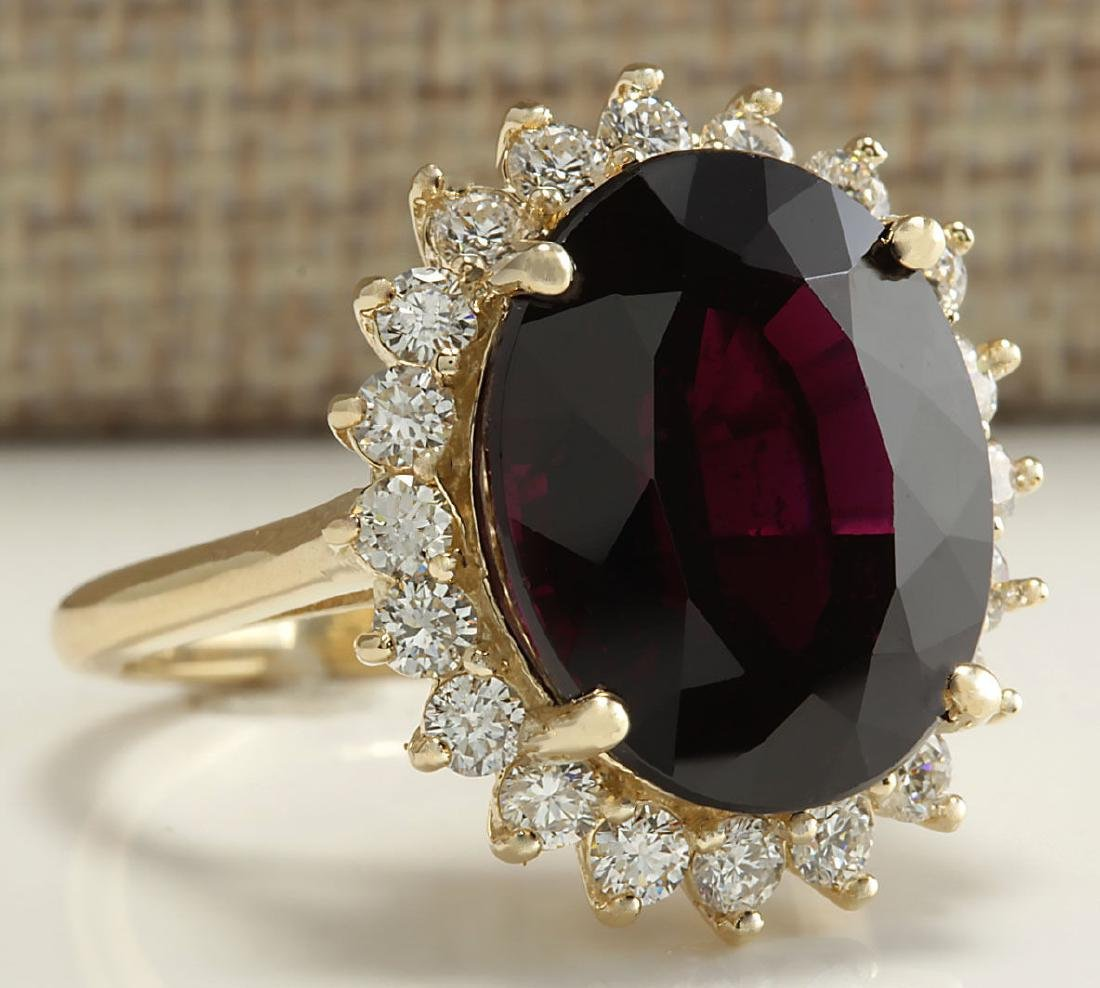 16.07CTW Natural Hessonite Garnet And Diamond Ring 18K - 2