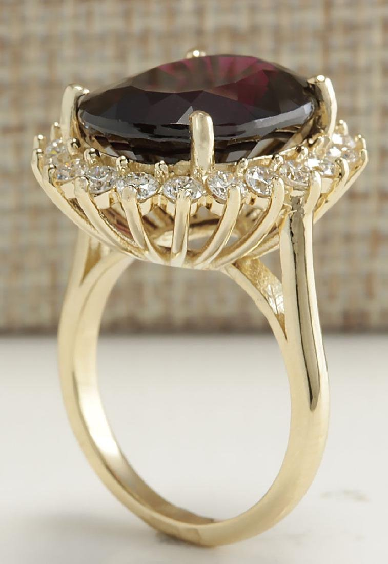 16.07CTW Natural Hessonite Garnet And Diamond Ring 18K - 3
