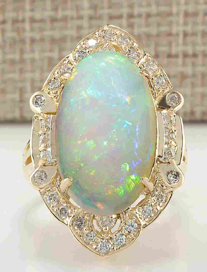 9.05 CTW Natural Opal And Diamond Ring In 18K Yellow