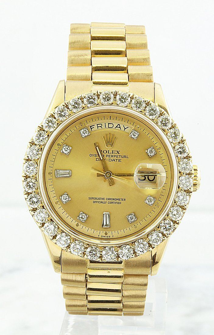 Rolex Oyster Perpetual Day-Date 18KYG Diamond Watch
