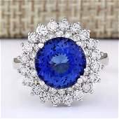 568 CTW Natural Blue Tanzanite And Diamond Ring 18K