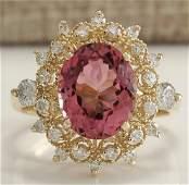 461CTW Natural Pink Tourmaline And Diamond Ring 18K