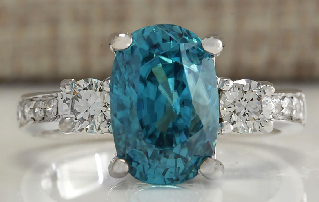 7.65 CTW Natural Blue Zircon And Diamond Ring 18K Solid